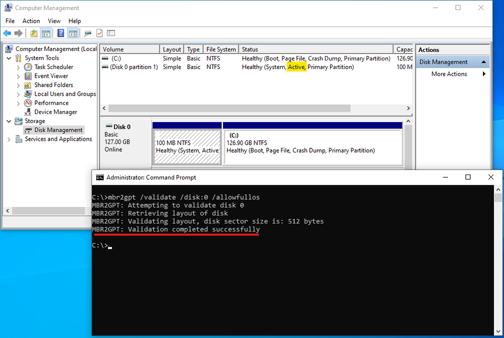mbr2gpt tool validation result with active partition