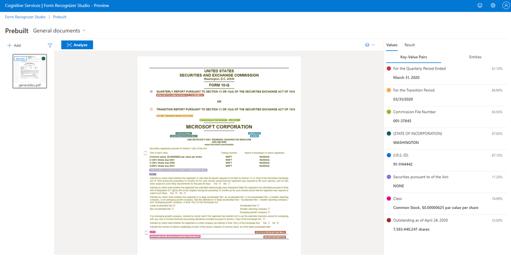 Try General Document in the Form Recognizer Studio