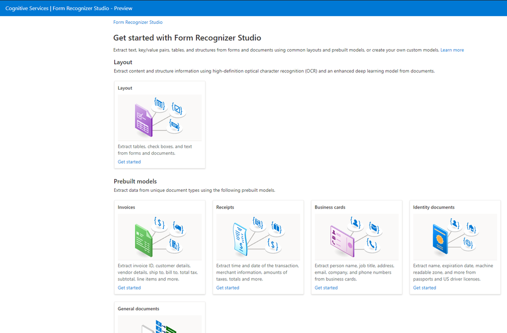 The new Form Recognizer Studio to test, train and analyze document models