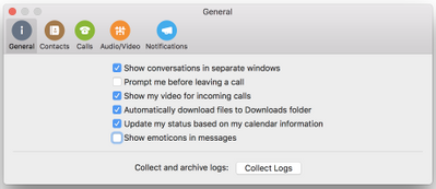 Show emoticons in messages check box on General page of Preferences