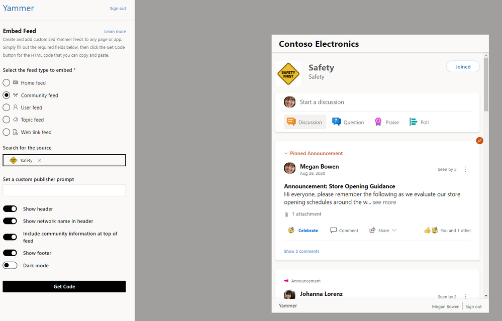 Customize Yammer communities with Embed