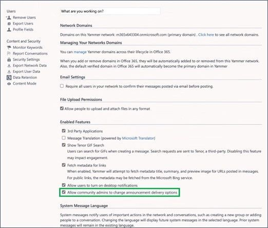 Edit email notifications from admin center in Yammer.