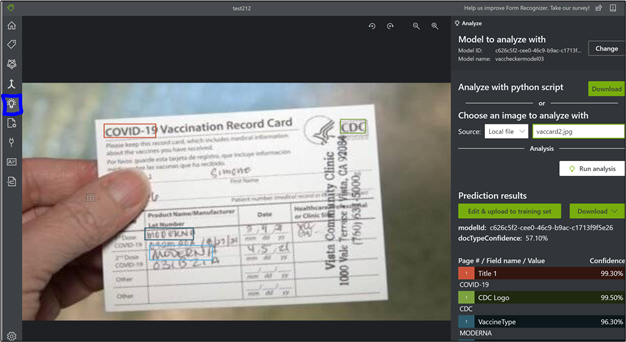 Figure 9: OCR Analyzes a new vaccination card