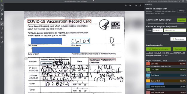 Figure 10: Fake Vaccination card
