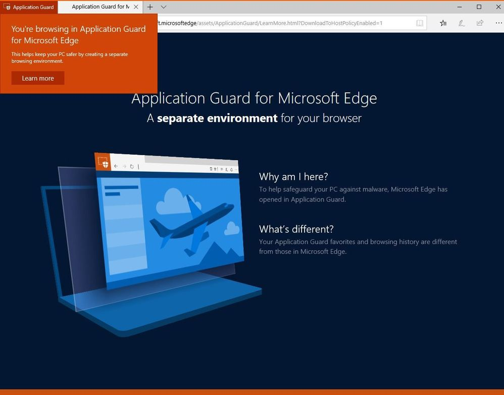 WDAG Protected Edge Instance (Learn More page)