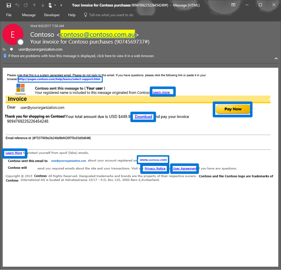 Figure 3.  Generic email with several phish lures in the email