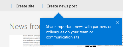 """Click """"Create news post"""" to start a new news article from SharePoint home in Office 365"""