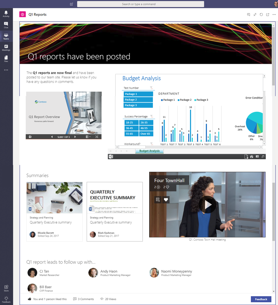 An info-rich news article as a tab in Microsoft Teams (in expanded view)