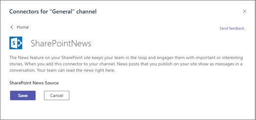 Choose the SharePoint News connector for your Microsoft Team channel.