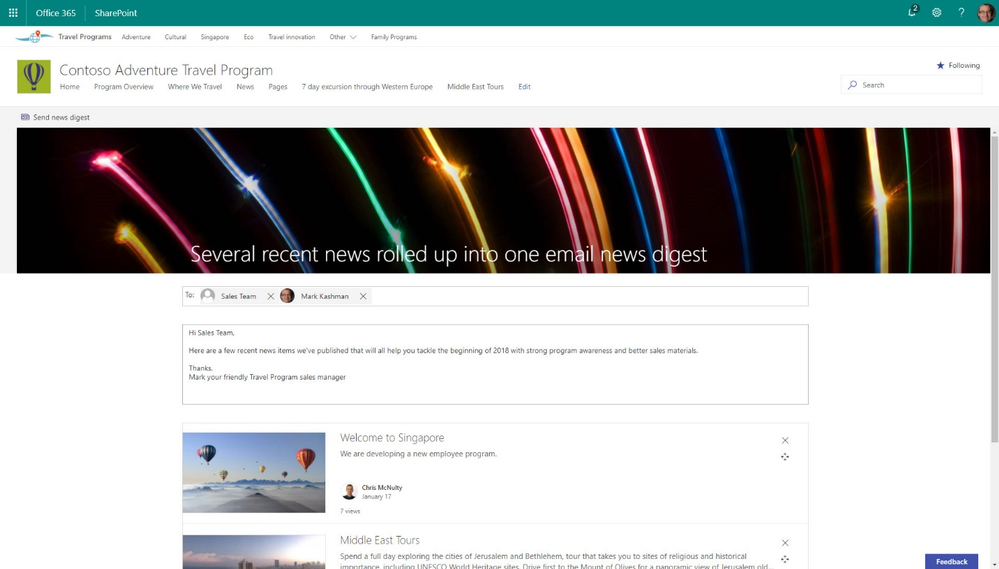 After you select the desired news article for your newsletter, add your recipients and a custom message.