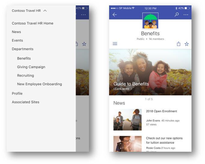 """Clean access to the cross-site navigation of a SharePoint hub site (on the left), and after you select """"Benefits"""" from under """"Departments"""" to go to the Benefits site (on the right)."""