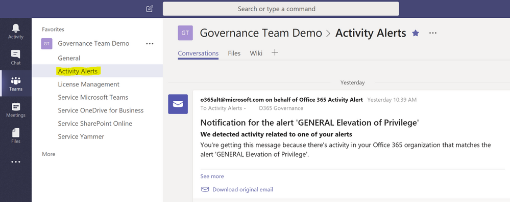 General Activity Alerts displayed in a Channel