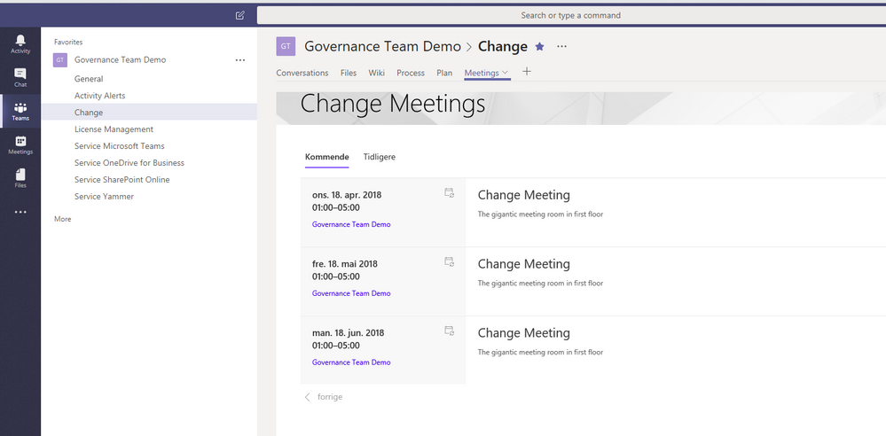 The Change Meeting Calendar