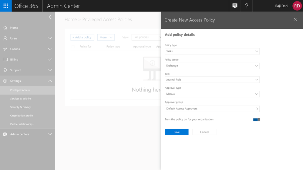 Graphic: Configuring a new access policy in the Office 365 Admin Center.