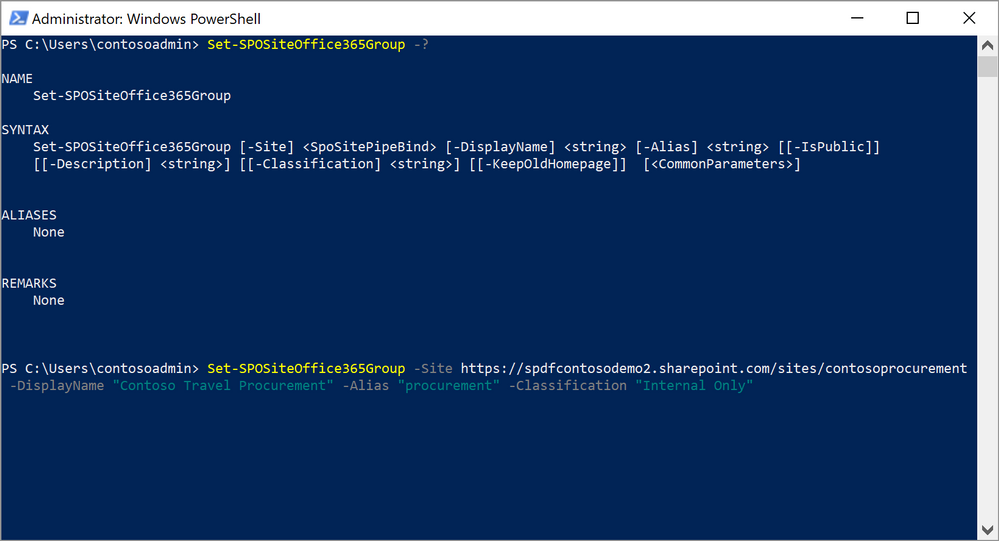 Example PowerShell cmdlet to connect an existing team site to a new Office 365 Group
