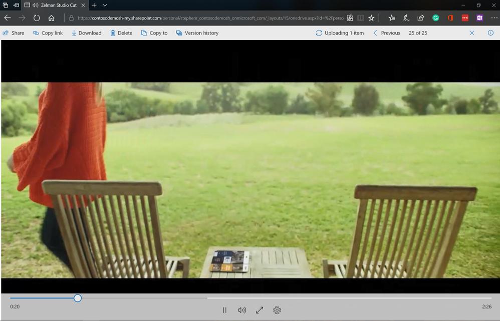 Full screen video viewing in OneDrive