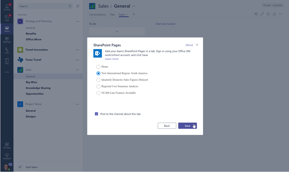 Add SharePoint pages, news articles and lists as tabs