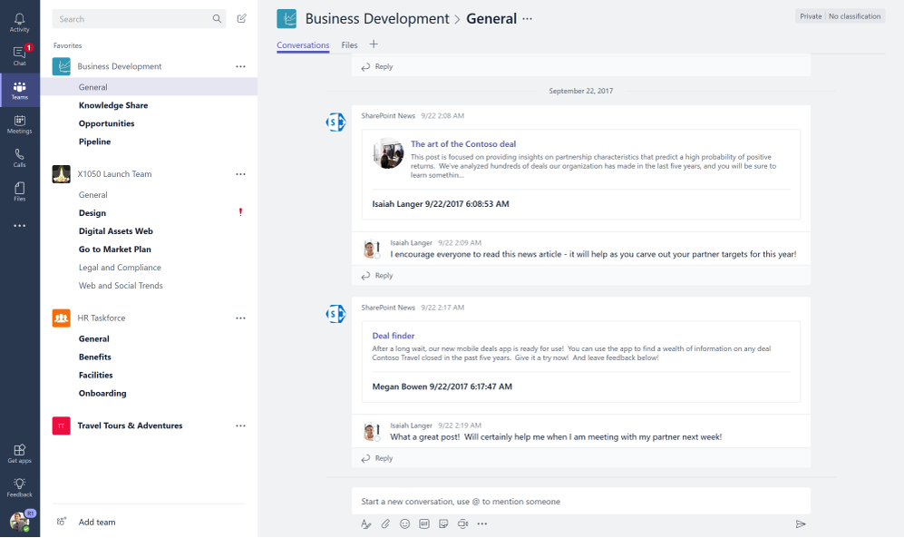 Connect SharePoint team news to automatically start new chat threads per news item each time one is created from SharePoint team sites.