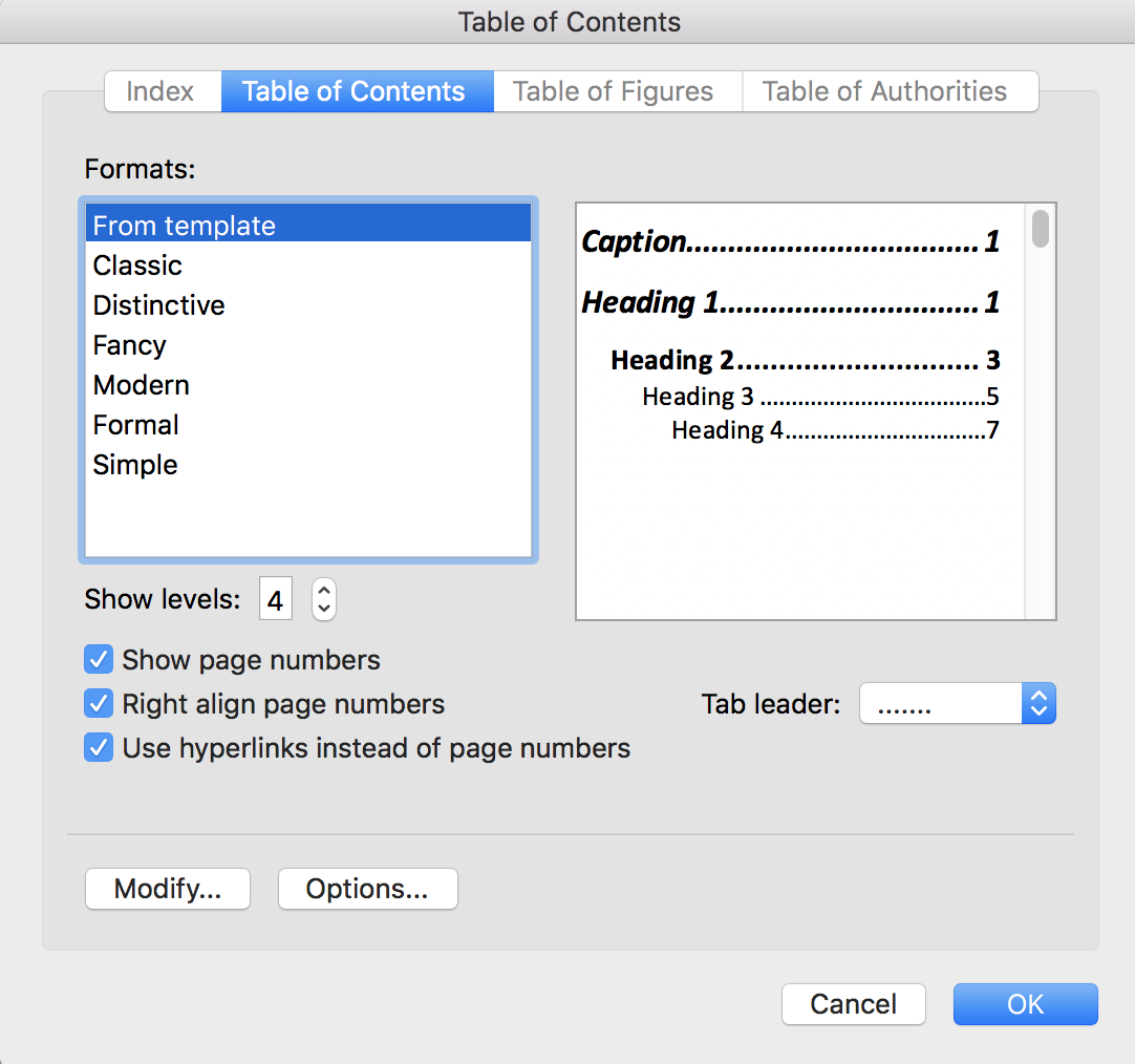 Table of Contents in Word displays captions - Microsoft Tech Community