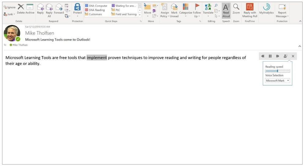 Outlook Desktop Read Aloud