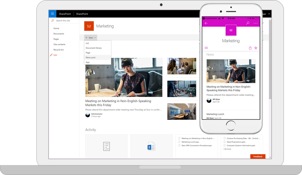 Caption:  Screenshot of a SharePoint Server 2019 Team Site on a PC and mobile device side-by-side.