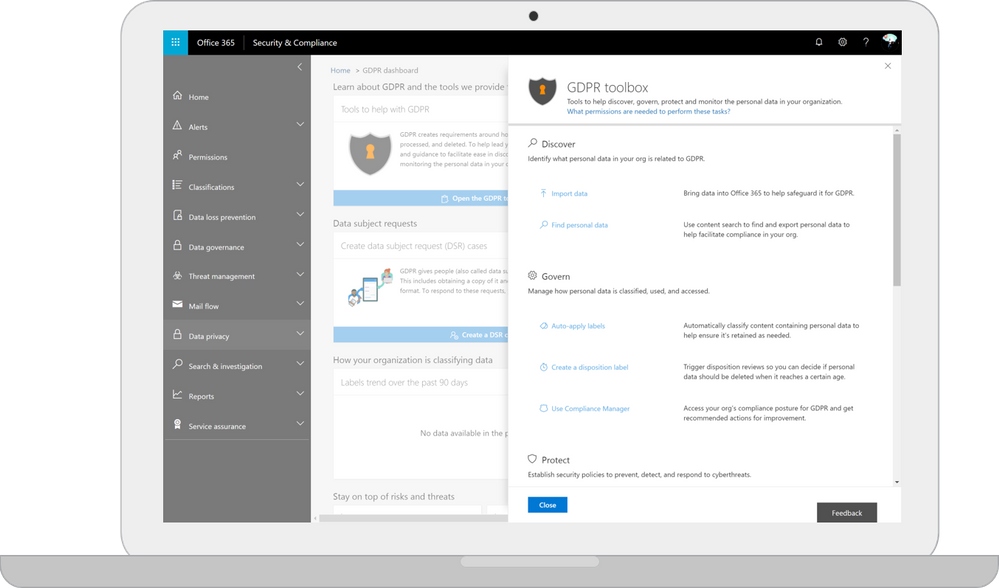 Screenshot of the GDPR Dashboard in Office 365.