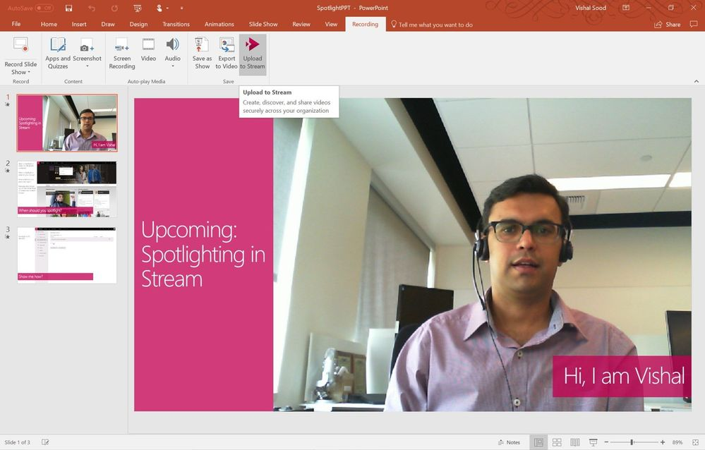 Publish videos to Stream  from PPT