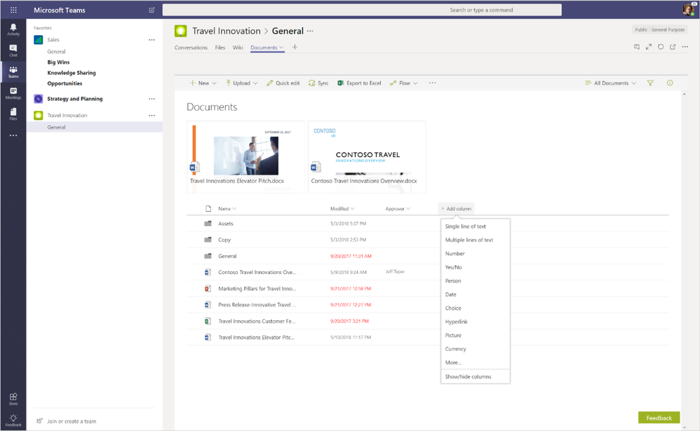 Get the full power of a SharePoint library when you work with your files in Microsoft Teams