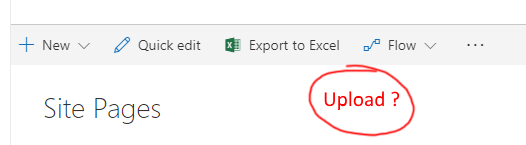Upload missing on SitePages from modern experience