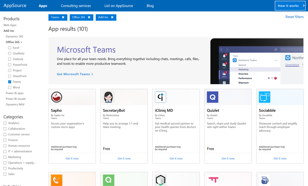Apps for Microsoft Teams now listed in AppSource