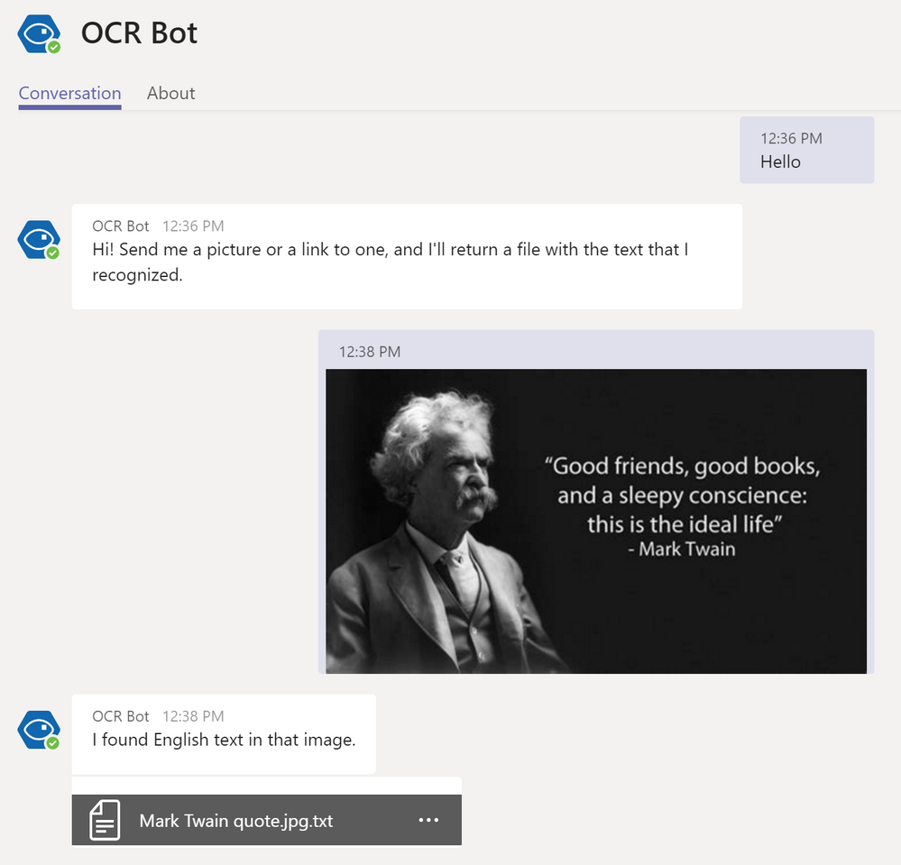 Sample conversation with OCR Bot