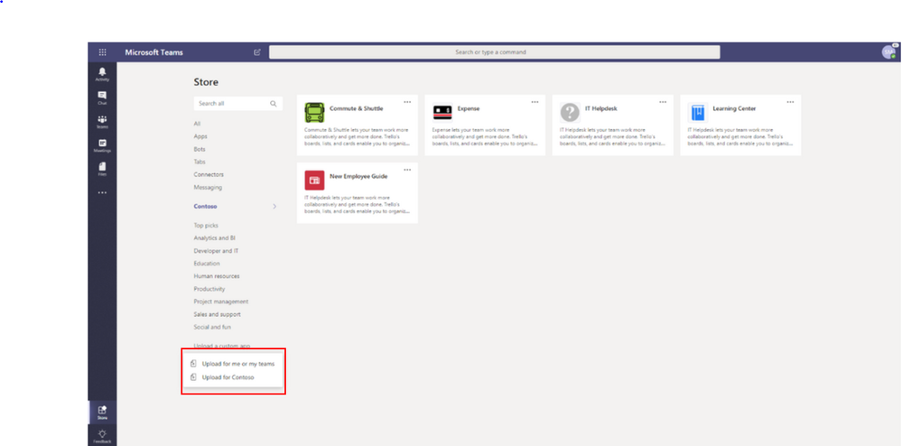 Control who has access to custom Teams apps and choose to publish in your company's catalog within the Teams app store.