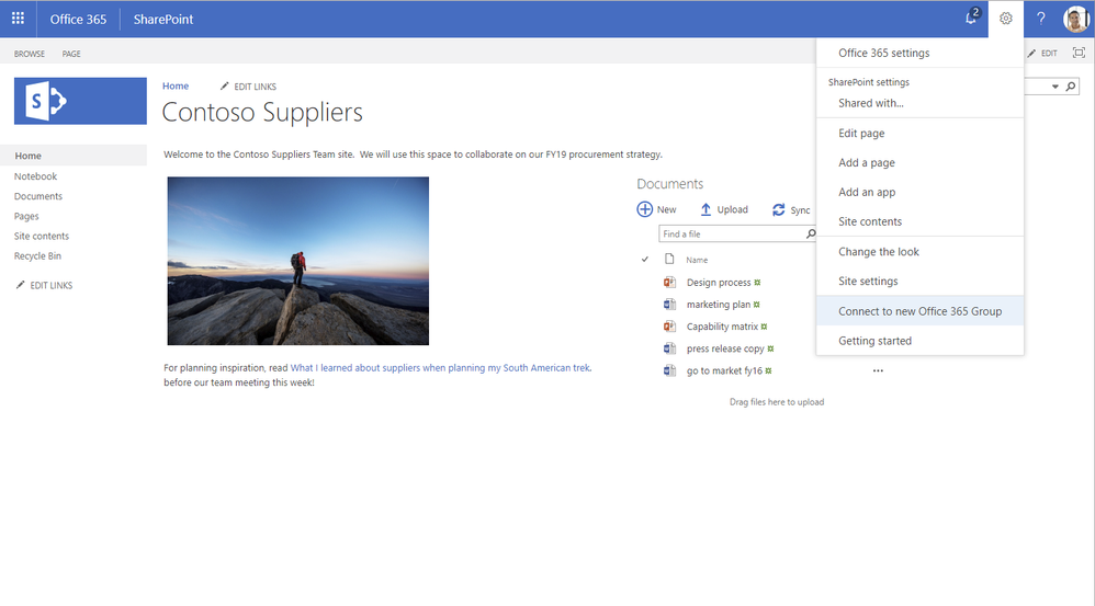 """From an existing (classic) SharePoint site, select """"Connect to a new Office 365 Group"""" from the upper-right gear icon menu to start the process."""
