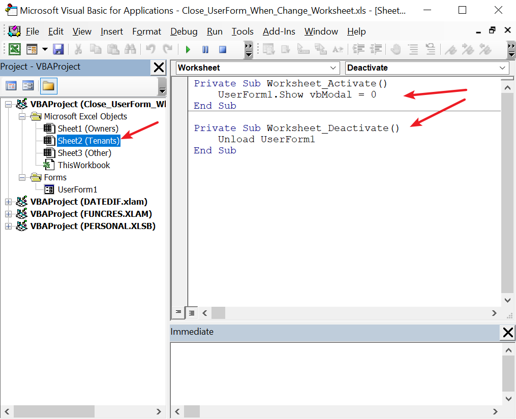 Closing a userform when changing to another sheet - Microsoft Tech  Community - 202014