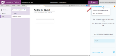 Guest access for OneNote