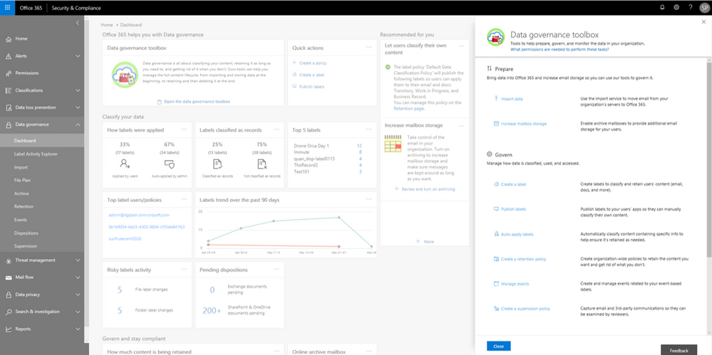 Data Governance toolbox provides guidance on getting started with Data Governance in Office 365.