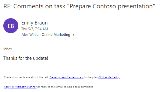 This email notification is sent for each reply to a task comment.