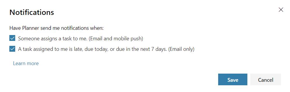 Planner notification settings screenshot