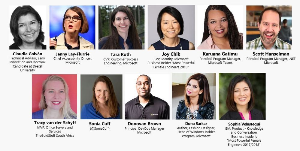 Preview of some of our amazing #DiversityandTech Empower Lunch speakers at Microsoft Ignite 2018 - More to come!