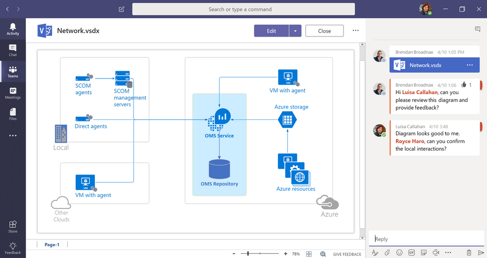 Now, you can easily upload a Visio file directly into a channel and view, edit and collaborate instantly