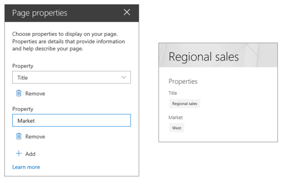 Select which custom page properties you wish to show to your readers via the Page properties web part.