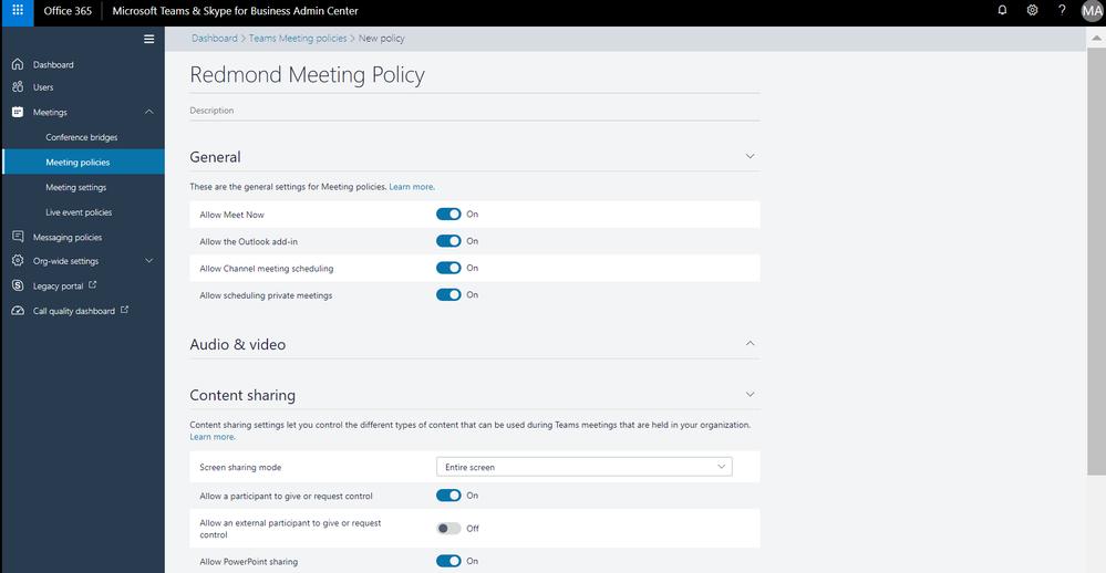 Create Custom Meeting Policy