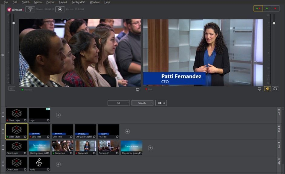 Producer view of event production with Wirecast S