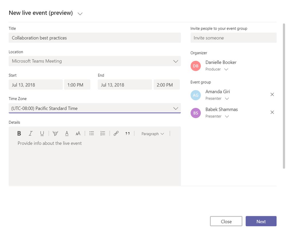 Organize a new live event in Microsoft Teams