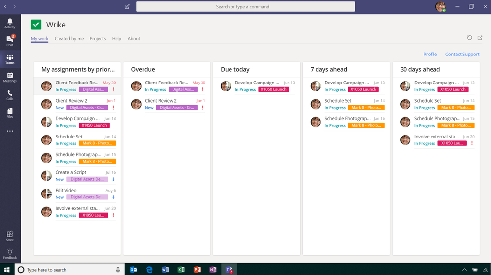 See all your tasks with Wrike's personal view