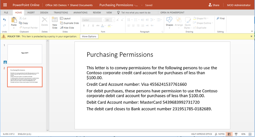 Policy tips appear in PowerPoint Online to signal to the user that a DLP policy has been triggered