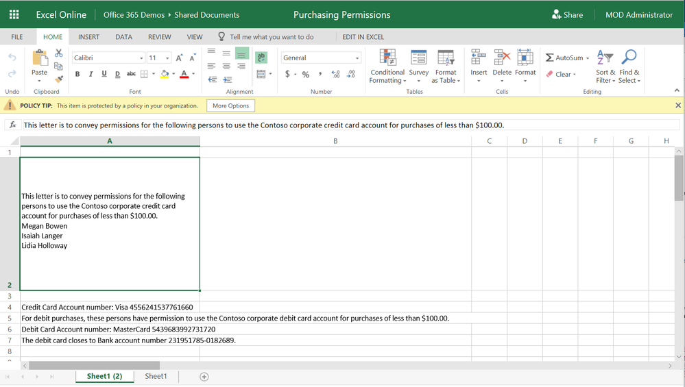 Policy tips appear in Excel Online to signal to the user that a DLP policy has been triggered