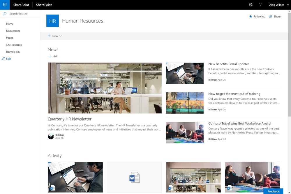 Modern site in SharePoint Server 2019