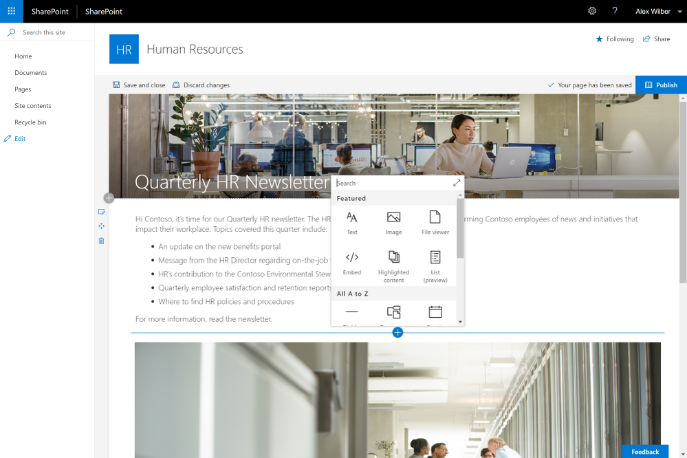 Modern page in SharePoint Server 2019