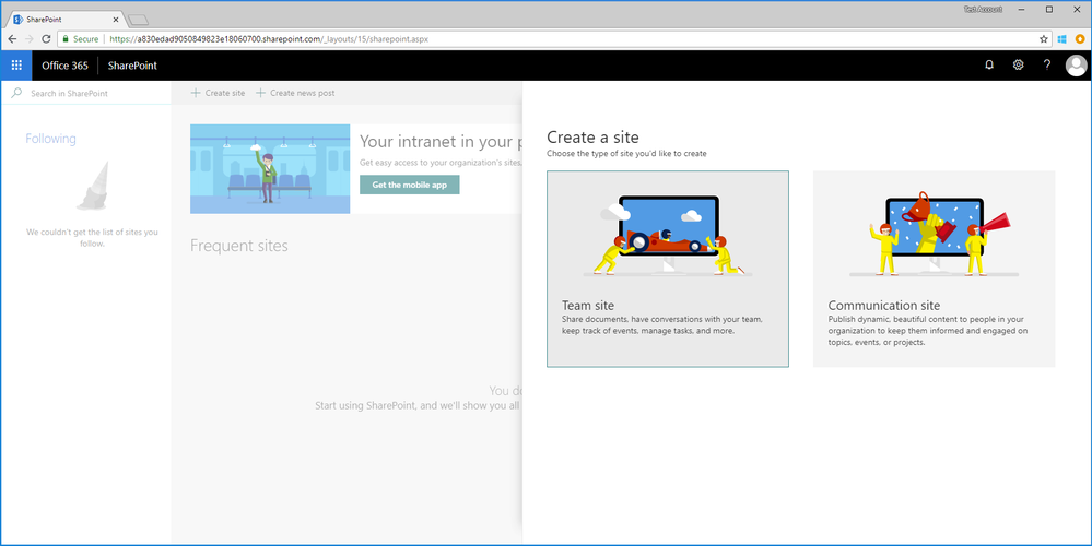 If a user is not enabled to create an Office 365 group, they can still create modern SharePoint sites.
